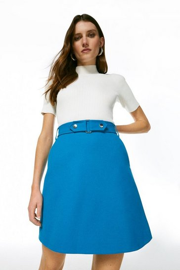 Turquoise Cinch Waist A-Line Skirt