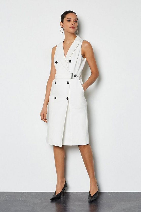 Ivory Sleek & Sharp Tailoring Dress