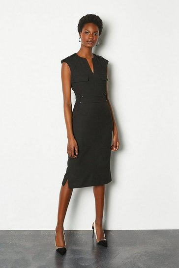 Black Square D-Ring Pencil Dress