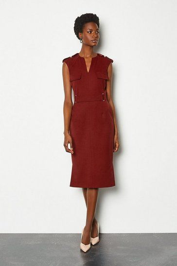 Rust Square D-Ring Pencil Dress