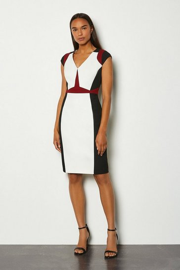 Rust Colour Block Cap Sleeve Shift Dress