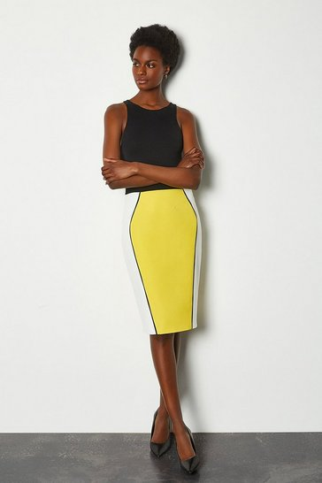 Yellow Colour Block Pencil Skirt