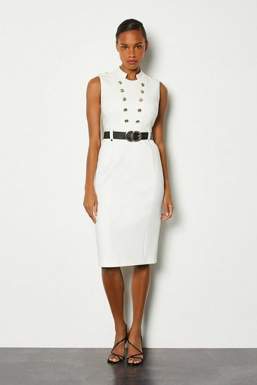 Ivory Tailored Button Military Dress