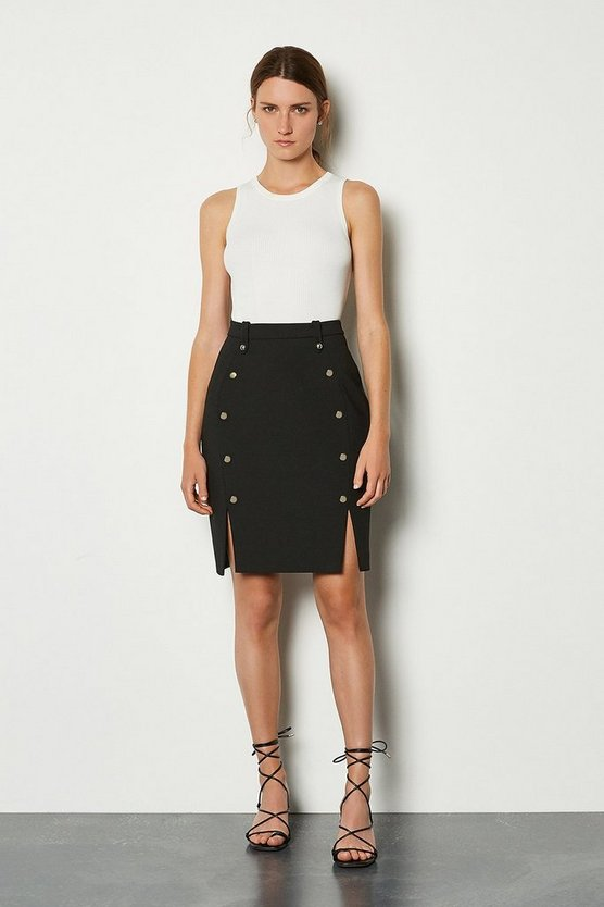 Black Tailored Button Mini Skirt