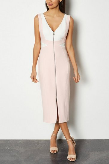 Blush Panel Block Pencil Dress
