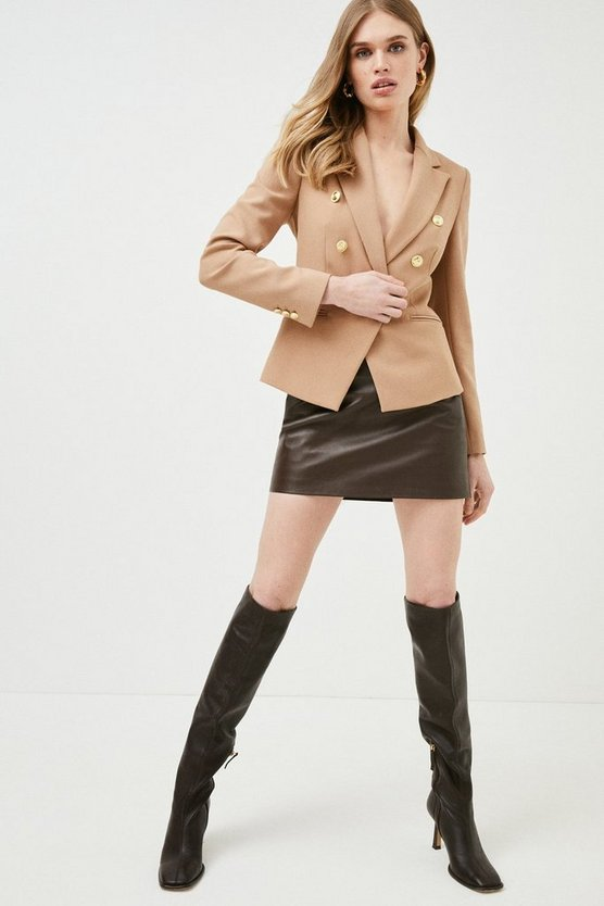 Camel Tailored Button Military Blazer