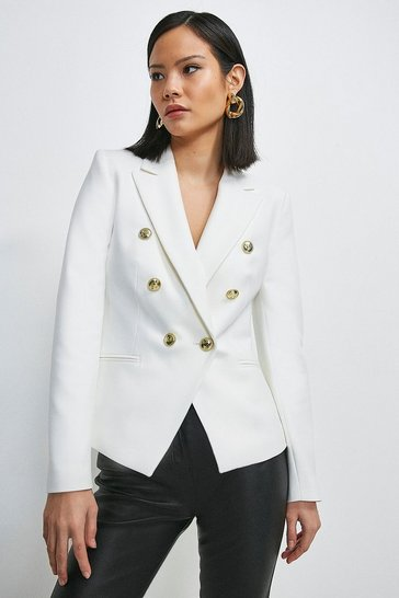 Ivory Tailored Button Military Blazer