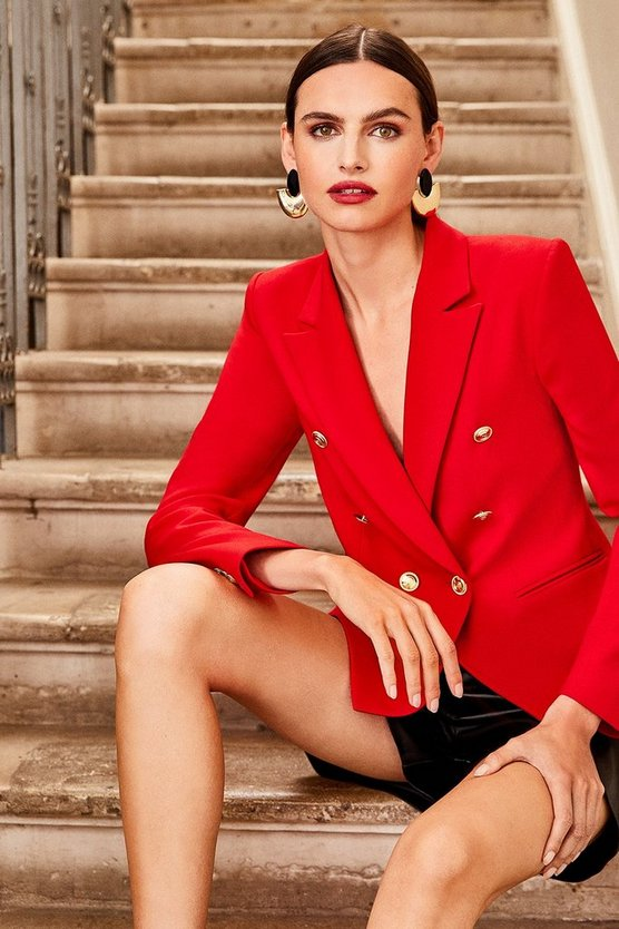 Red Tailored Button Military Blazer