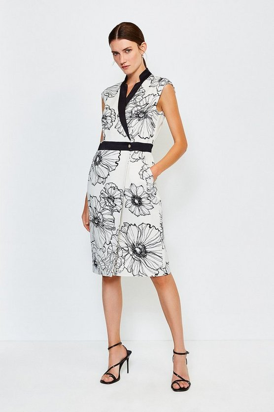 Natural Printed Wrap Sleeveless Tailored Dress
