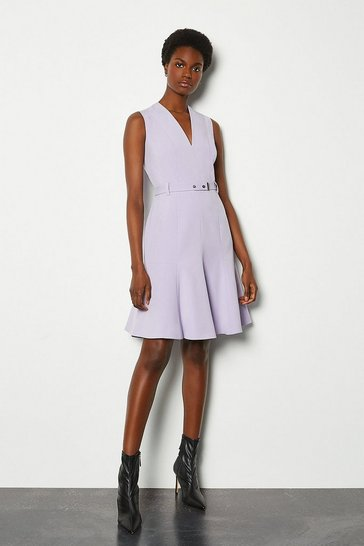 Lilac Sleeveless Belted Flippy Hem Dress