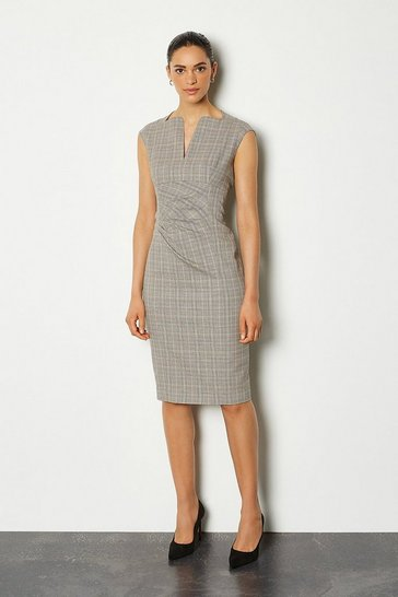 Grey Check Envelope Sleeveless Midi Pencil Dress