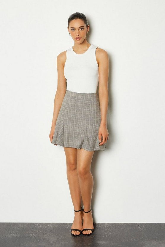 Grey Check Flippy Short Skirt