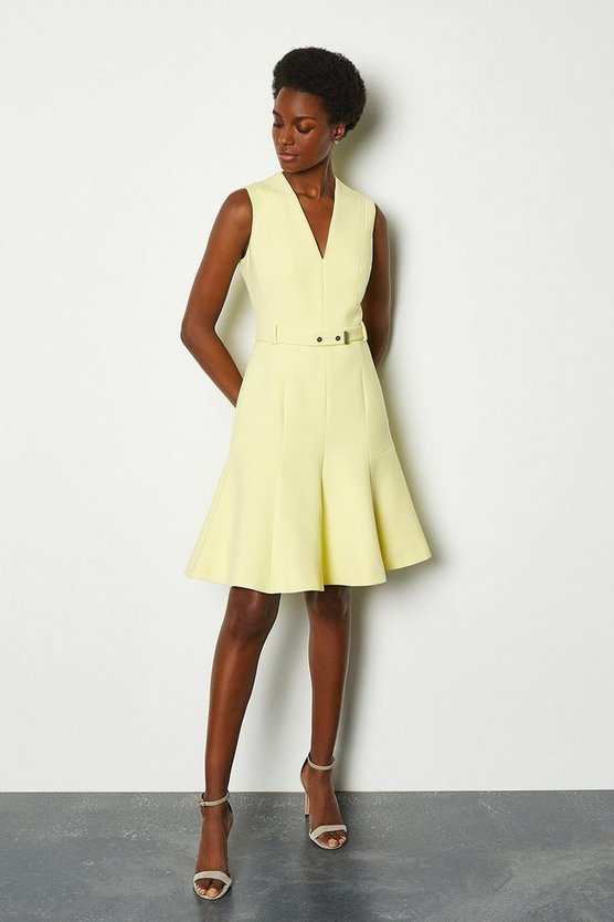 Yellow Sleeveless Belted Flippy Hem Dress