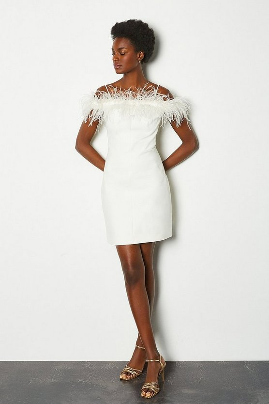 Ivory Feather Bardot Dress