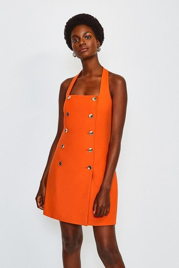 Orange Military Halter Neck Dress