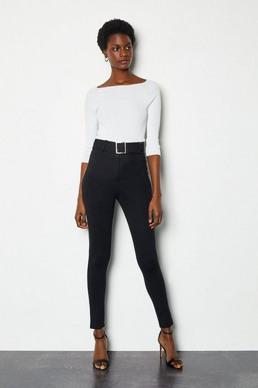 Black Ponte Belted High Waist Skinny Trousers