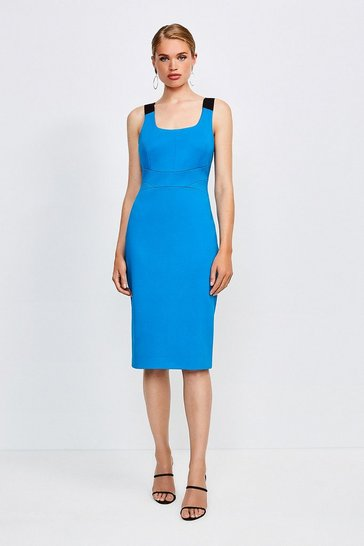 Blue Italian Structured Jersey Strappy Dress
