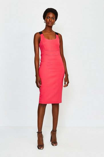 Pink Italian Structured Jersey Strappy Dress