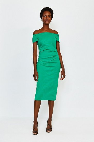 Green Italian Structured Jersey Bardot Dress