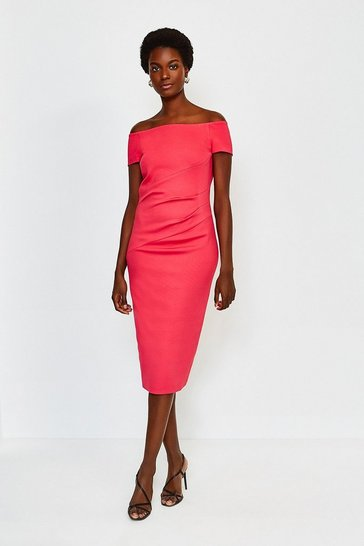 Pink Italian Structured Jersey Bardot Dress