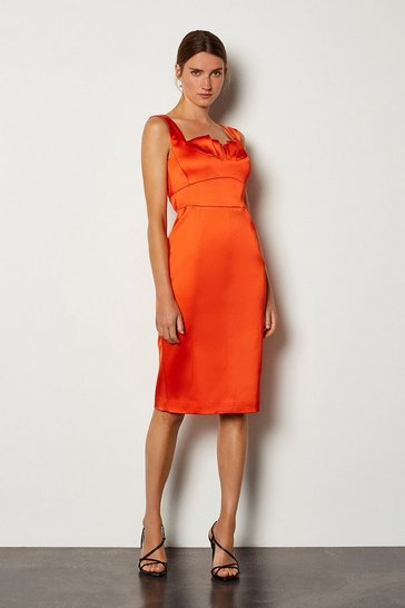Orange Structured Satin Origami Bustier Dress