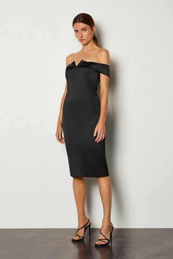 Black Structured Satin Bardot Dress