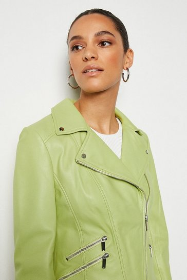 Lime Leather Signature Biker Jacket