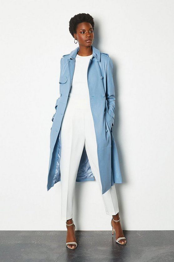Pale blue Leather Trench Coat