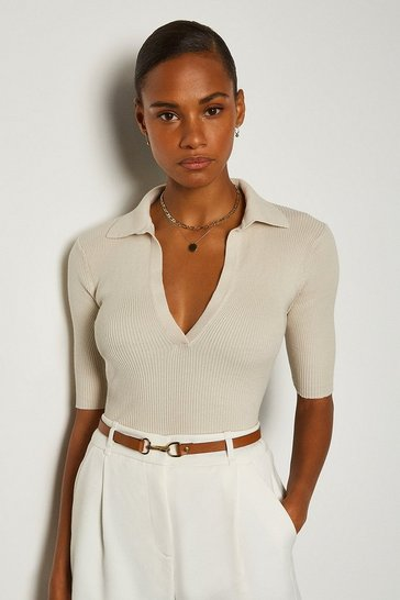 Beige Sporty Collared Top