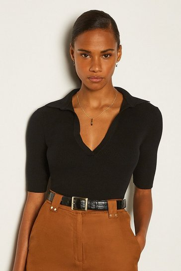 Black Sporty Collared Top