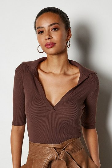 Chocolate Sporty Collared Top