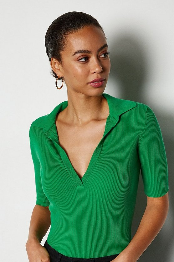 Green Sporty Collared Top