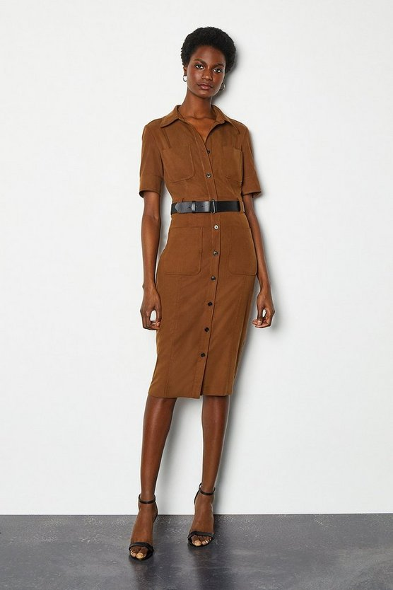 Rust Utility Shirt Dress