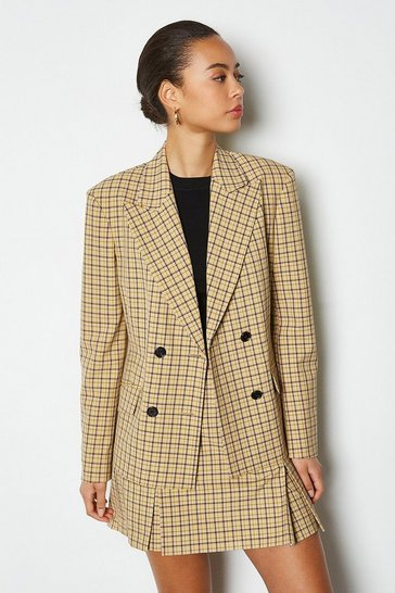Yellow Shadow Check Double Breasted Jacket