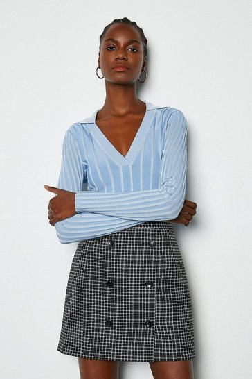 Blackwhite Feminine Check Skirt