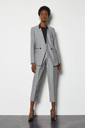 Mono Luxe Silk Stretch Blend Tailored Jacket