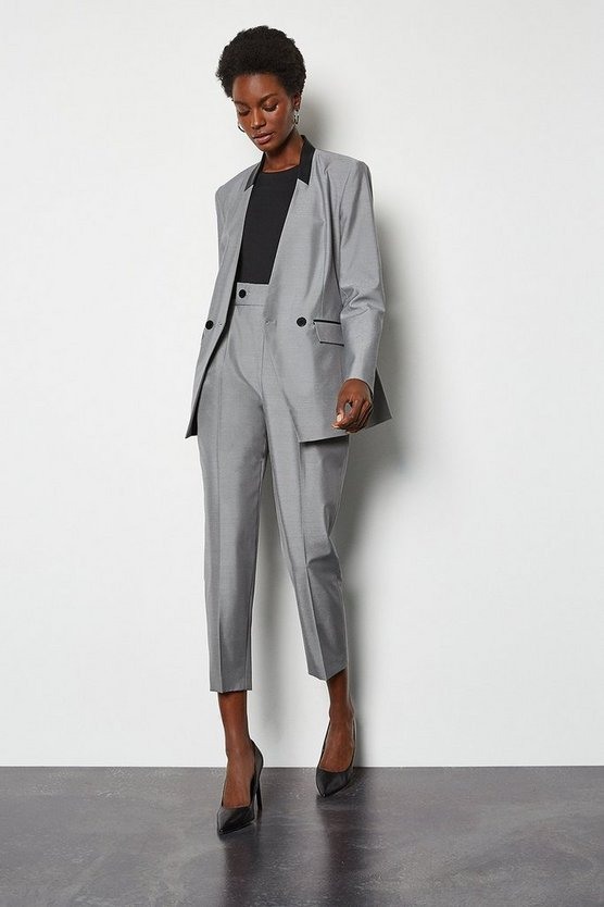 Mono Luxe Silk Stretch Blend Tailored Trouser