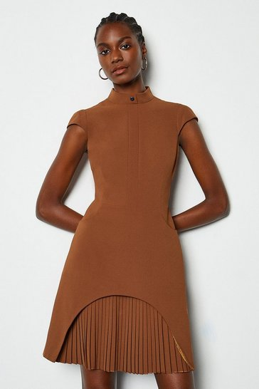 Brown Military Tailored Dress