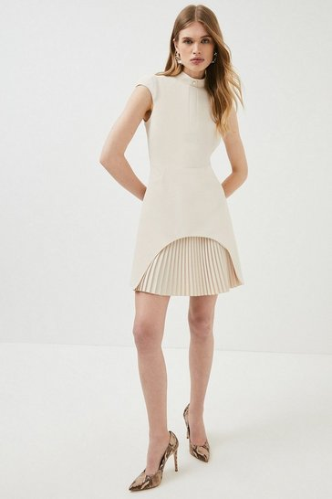 Cream Military Tailored Dress
