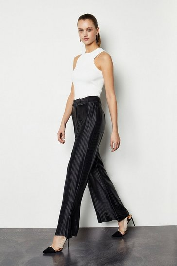 Black Summer Stripe Wide Leg Trousers