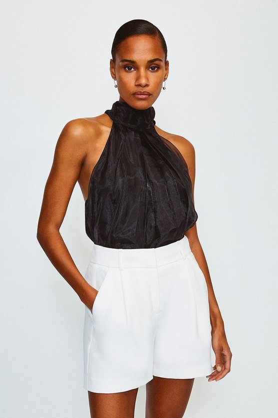 Black Organza Tie Neck Halter Top