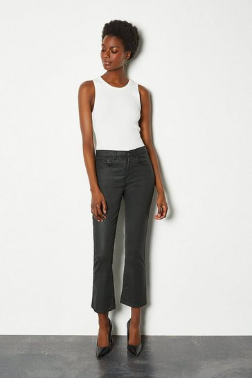 Black Power Cut Coated Kick Flare Jean