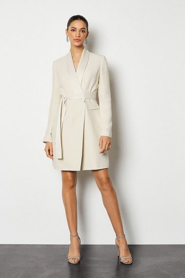 Natural Tuxedo Wrap Dress