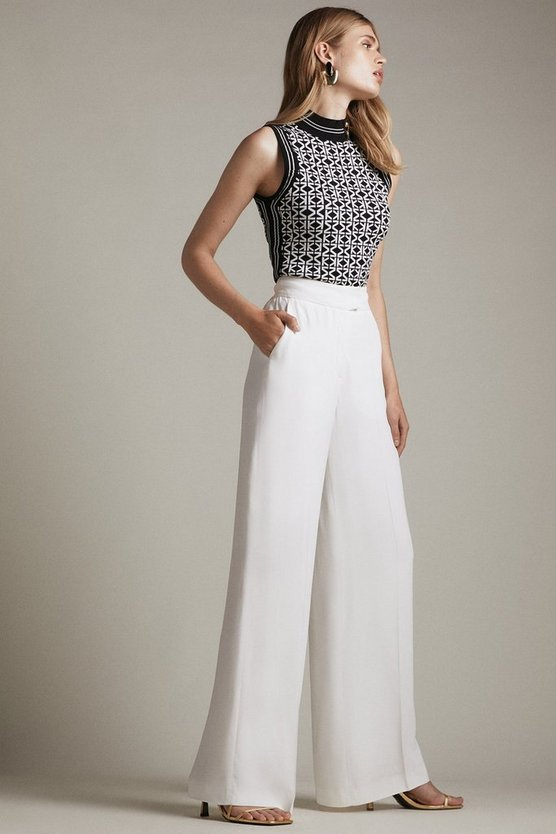 Ivory Viscose Satin Back Crepe Wide Leg Trousers