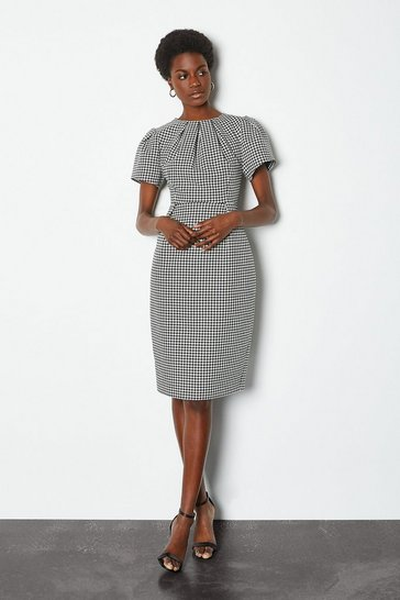 Blackwhite Dogtooth Check Volume Sleeve Dress