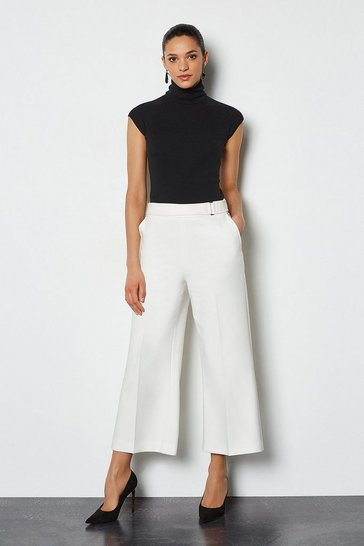 Ivory Square D Ring Crop Trouser