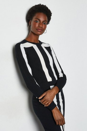 Black Sporty Graphic Knit Jumper