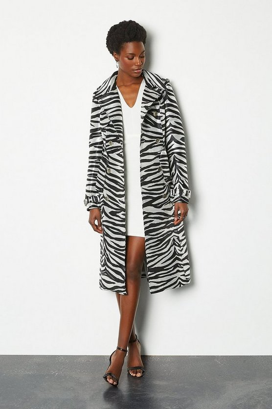 Animal Zebra Belted Trench Coat