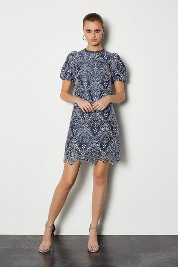 Blue Chemical Lace Short Sleeve Short Dress