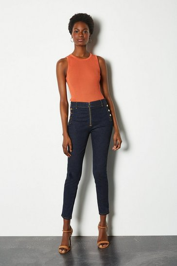 Denim Skinny Front Zip and Button Detail Jean